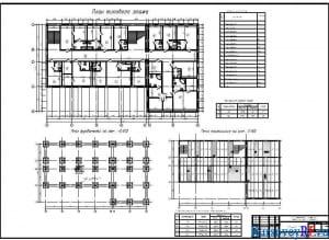 План типового этажа, план фундаментов, план перекрытий