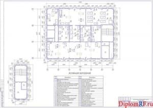 Чертёж плана производственного корпуса с расстановкой оборудования (формат А1)