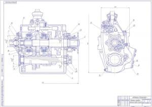 2.Чертеж картера коробки переменных передач в разрезе А1