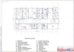 Чертеж планировки мастерской (формат А1)