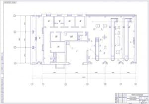 Чертёж плана машинно-тракторной мастерской до реконструкции (формат А1)