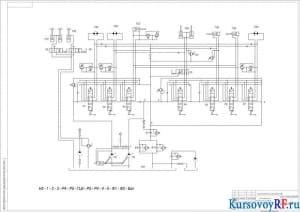 Схема гидравлическая принципиальная экскаватора ЭО-4121