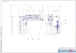 Контрольная скоба с датчиком, смонтированная на кожухе шлифовального круга (2)