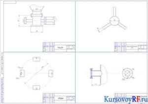 Чертеж деталей: патрубок, парораспределительный узел, опоры, труба подачи пара