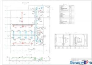 План первого этажа М1: 100, Разрез А-А, Экспликация помещений, Сторона обслуживание установки П1 М1: 10