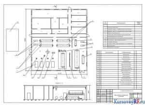 Чертеж плана здания холодильной установки