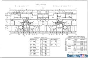 Чертеж плана этажей 1-го в осях 1-9, типового в осях 9-17, М 1:100, спецификация заполнения дверных и оконных проемов