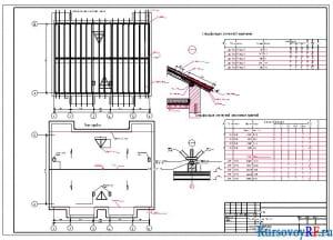 Чертеж схемы расположения элементов стропил, план кровли, спецификация элементов заполнения проемов, спецификация элементов перемычек трехэтажного жилого дома на шесть квартир