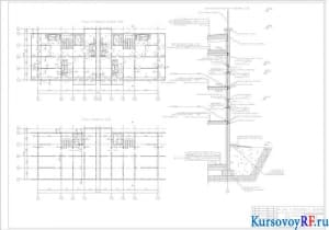План типового этажа 1:100, план подвала 1:100, конструктивный разрез 1:20
