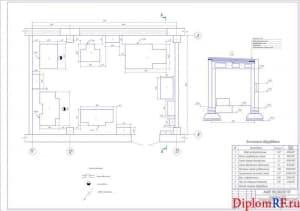 Чертёж плана слесарно-механического участка Балаковского ПАТК (формат А1)