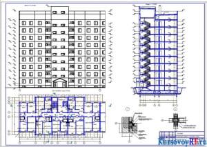 Фасад, план типового этажа, Разрез 1-1