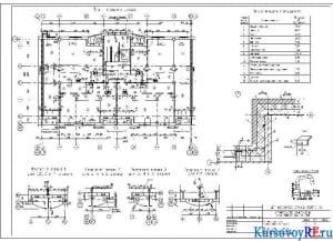 План типового этажа, фрагменты плана, узел 2, экспликация помещений