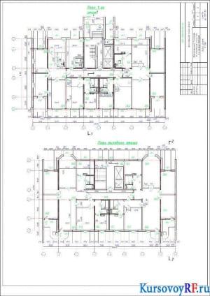 Планы этажей М 1:100