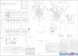 Схема прохода крана, разрез 1-1, конструктивные узлы, допустимы отклонения