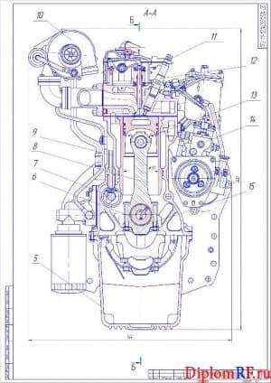 Чертеж разреза поперечного двигателя (формат А2)
