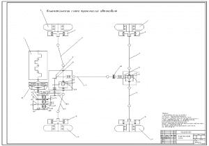 3.Кинематическая схема трансмиссии автомобиля А1 с обозначениями позиций
