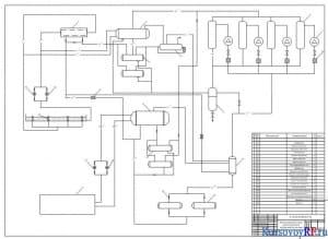 Чертеж принципиальной схемы одноступенчатой холодильной установки