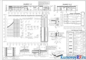 Чертеж плана помещения производственной базы на 100 единиц спецтехники для уборки территорий (формат 2хА1)