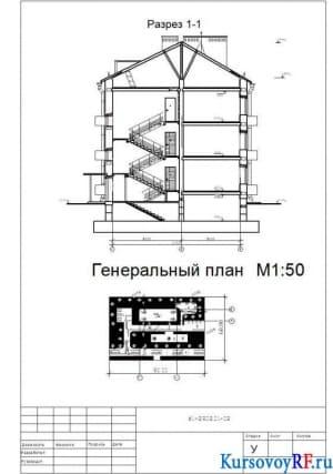 Разрез 1-1, Генеральный план М1:50