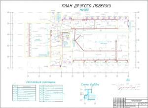 4.Чертеж второго этажа. Экспликация помещений, схема здания, аксонометрические схемы вентиляции В4