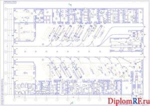 Чертеж производственного корпуса после реконструкции с расстановкой оборудования (формат А1)