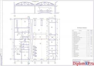 Чертёж компоновочного плана помещения ПК на отм. 0,000 (формат А1)