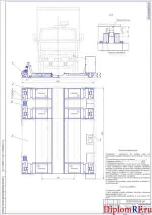 Общий вид стенда для проверки стоек и амортизаторов грузовых автомобилей (формат А1)