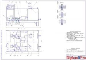 Чертеж стенда для промывки каналов масляных двигателей (формат А1)