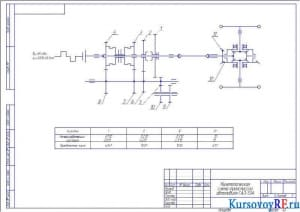 Кинематическая схема трансмиссии автомобиля ГАЗ-53А (формат А3)