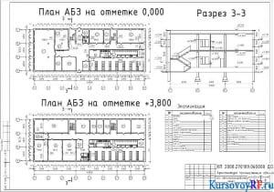 План АБЗ на отметке 0,000, План АБЗ на отметке +3,800, Разрез 3-3