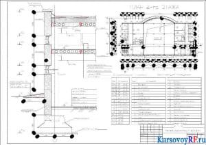 План второго этажа, Разрез по стене, Спецификация проемов