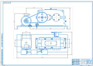 5.Общий вид в двух проекциях цилиндрического редуктора А1