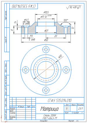 5.Рабочий чертеж матрицы А4