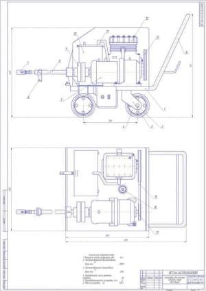 Чертеж установки для очистки котлов и труб (формат А1)