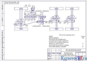 Чертеж кинематической схемы трансмиссии автомобиля Урал-4320-01(формат А3)