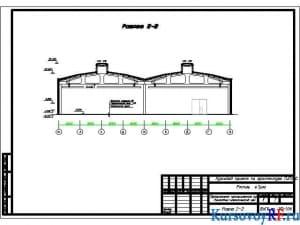 Чертеж разрез здания 2-2