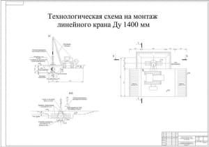 6.Технологическая схема на монтаж линейного крана Ду 1400 мм