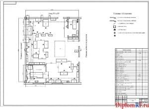 Чертёж планировки агрегатно-механического участка (формат А1)