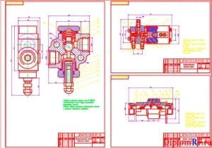 Чертеж ограничительного клапана, электропневмоклапана и муфты запорной (формат А1)