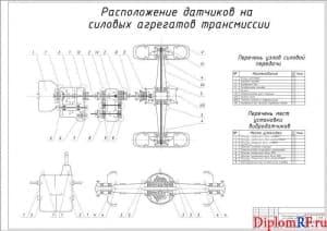 Чертёж расположения датчиков на силовых агрегатах трансмиссии (формат А1)