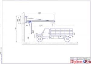 Чертёж консольно-поворотного крана в работе (формат А1)