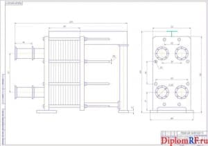 Чертеж сетевого подогревателя типа пластинчатого (формат А1)