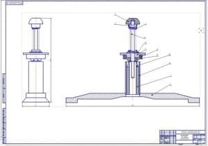 Сборочный чертеж прибора для проверки натяжения ремней (ф.А1)