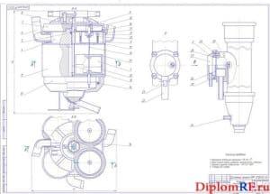 Сборочный чертеж коллектора доильного аппарата (формат А1)