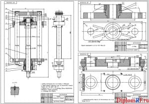 Чертеж опоры механизма подъема, опоры винта, гайки в сборе (формат А1)