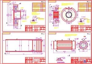 Чертеж деталей: шестерня ведущая, корпус-гильза, вала вторичного отборки мощности, ведомая шестерня (формат А1)