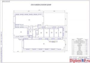Чертеж плана разводки отопления здания (формат А1)
