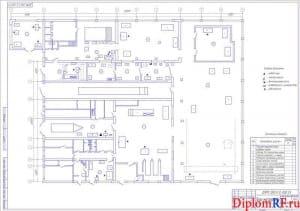 Чертёж плана мастерской (формат А1)