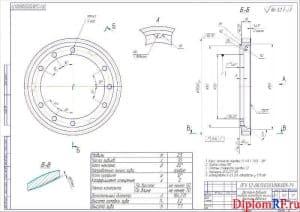 Чертеж шестерни ведущей привод насоса топливного высокого давления (формат А2)