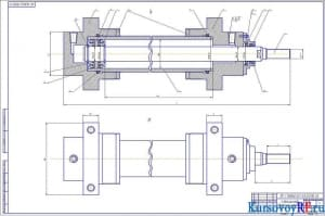 Сборочный чертеж гидроцилиндра (формат А1)